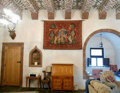 A Mon Seul Desir tapestry hanging in a tower