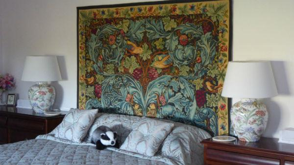 bedroom tapestry. William Morris Acanthus and Vine tapestry in a bedroom  tapestries