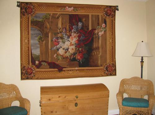Architectural Bouquet tapestry - French floral wall tapestry in a bedroom