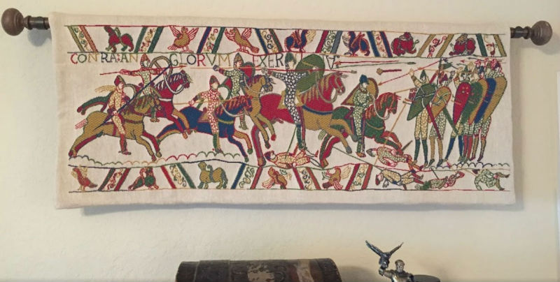 Battle of Hastings tapestry hanging in a home