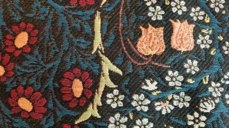 Detail of the Blackthorn throw by William Morris