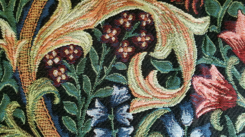 Detail of the Golden Lily throw by William Morris