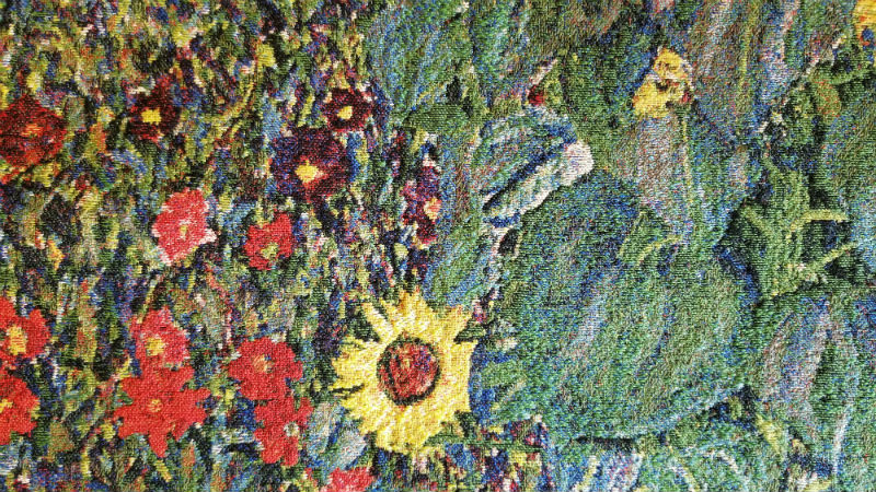 Detail of the Klimt Flower Garden tapestry
