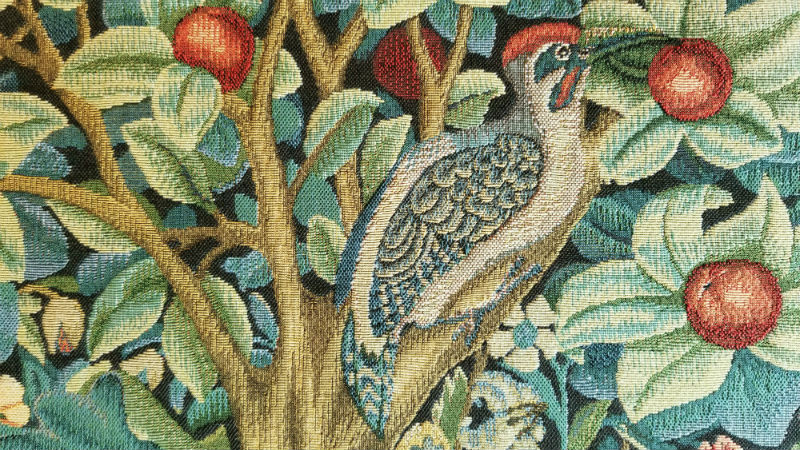 Detail of The Woodpecker tapestry by William Morris