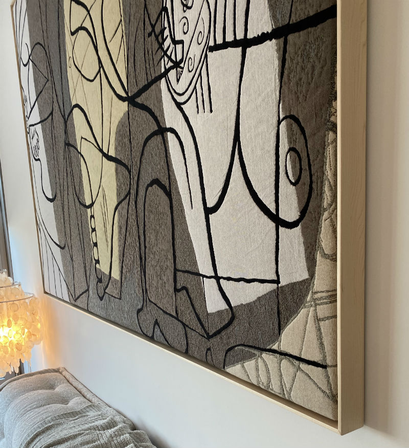Example of a wall hanging framed tapestry