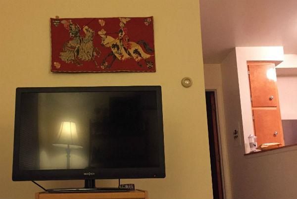 The Jousting tapestry hanging above a TV