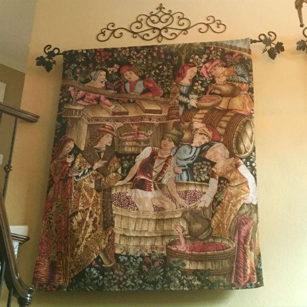Pressing the Grapes wall tapestry hanging