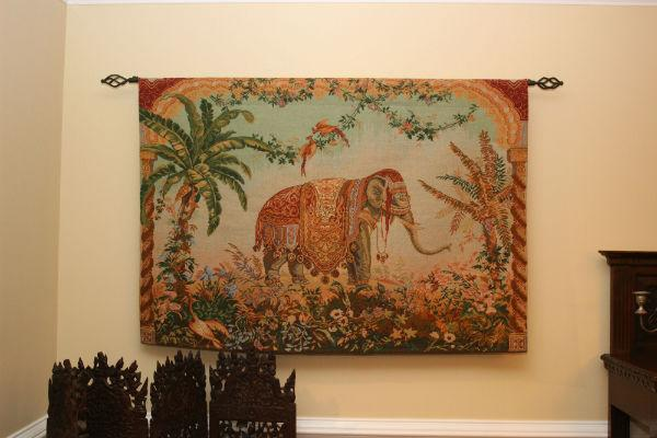 Royal Elephant tapestry hanging in a dining room