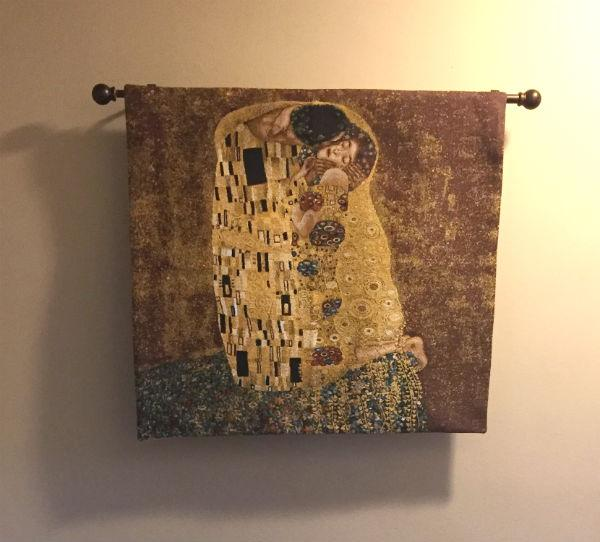 Square Kiss tapestry wallhanging
